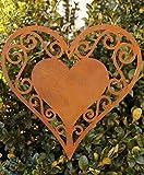 terracotta-toepfe-de Edelrost Herz 25 cm filigran zum Aufhängen Fensterschmuck Gartendekoration Metall Rost Hochzeit