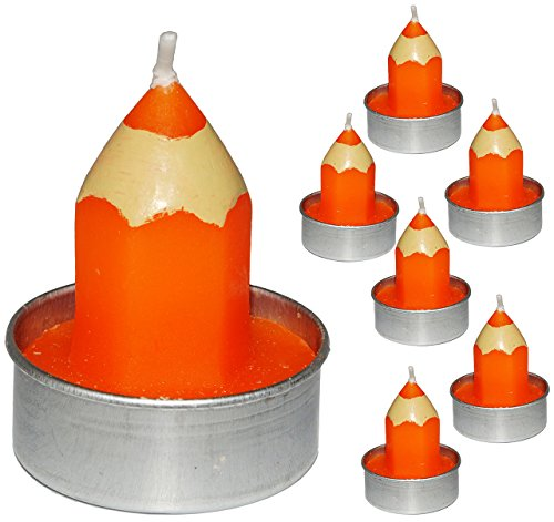 6 TLG. Set _ kleine Kerzen / Teelichter -  bunter Stift - ORANGE  - 5 cm hoch - Tischkerze - Tischdeko / Schuleinführung / Geburtstagskerzen - Stifte - Schu..
