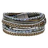StarAppeal Armband Wickelarmband mit Perlen, Strass, Ketten und Flechtelement, Magnetverschluss Silber Matt, Damen Armband (Grün)