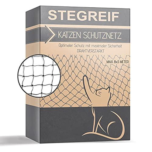 STEGREIF Katzennetz drahtverstärkter Schutz 8x3 Meter aus HDPE Material- komplett Set inkl. für Ihre Katze, Hund und Anderen Haustieren.