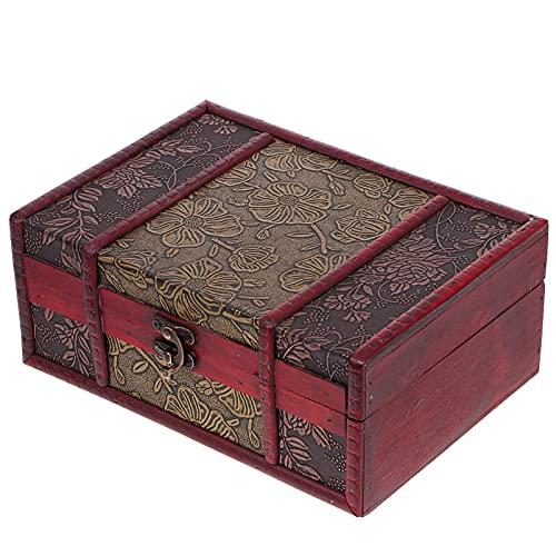 VICASKY Holz Schatulle Schmuck Holzbox Vintage Holzkiste Deko Kiste kleine Dinge Aufbewahrungs- Box Spielzeugkiste Erinnerungsbox für Spielzeuge Hochzeit Geburtstag Geschenke 23x16x9, 5 cm