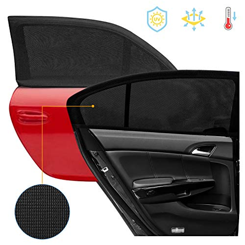 Car Window Shade, Upgraded Breathable Mesh Car Rear Side Window Sunshades Protect for Baby Kids from the Sun Universal Fit for Most of Cars SUV MPV Road Travel Accessories, Black, 2 Pack (Universal)