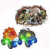 Dinosaur Car Boys - Light Up Dinosaur Vehicles with LED and Realistic Sound,Glow up Dinosaur Cars...