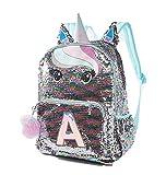 Justice Pastel Unicorn Flip Sequin Initial Backpack (Letter H)