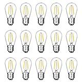 15 Pack LED S14 Replacement Light Bulbs, Meconard Shatterproof Waterproof 2W Outdoor String Light Bulbs, E26 Medium Base, 2200K Warm White, 120LM, CRI90, Non-Dimmable