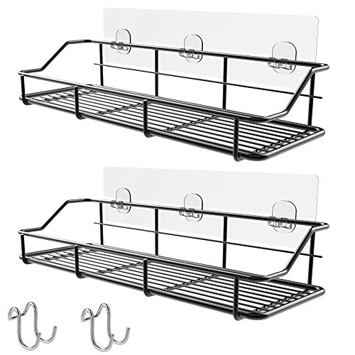 Check Out This KESOL Adhesive Shower Caddy Shower Shelf with Hooks, 304 Stainless Steel, 2 Pack (Bla...
