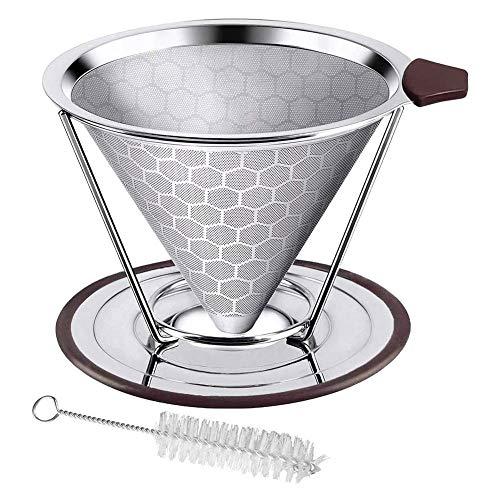 J-MOOSE Filtre à Café Permanent de haute précision en acier inoxydable 304 de qualité alimentaire, Réutilisable avec Double Maille en Inox et Anse en Silicone (A)