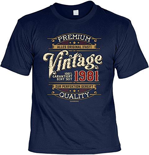 Herren Geburtstag T-Shirt - 40 Jahre - 100 Prozent Premium Vintage seit 1981 - lustige Shirts 4 Heroes Geschenk-Set Bedruckt mit Urkunde