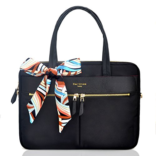 YOUPECK Frauen-Laptop-Einkaufstasche, wasserdichte Laptop-Taschen-Aktentasche RFID, die ultradünne Nylongeschäfts-Handtaschen-Schulter-Kuriertasche für das 14 15 Zoll Macbook für Damen, schwarz
