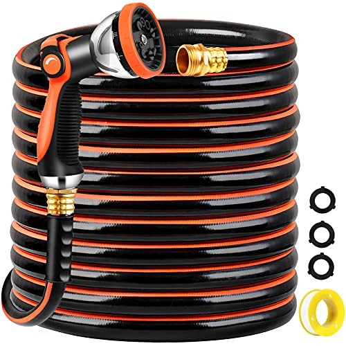 TomCare Garden Hose 50 ft Premium Rubber Garden Hose Water Hose Flexible 3 Layers Hybrid Garden Hoses with 10 Function Hose Sprayer 3/4' Solid Brass Fittings Heavy Duty Hose for Watering Washing