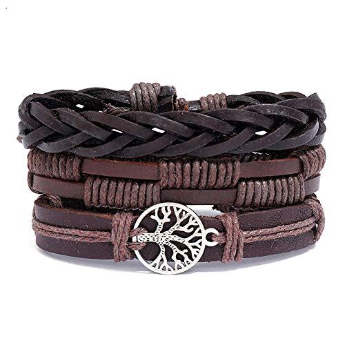 ABWEY Pulsera de cuero vintage tejida a mano del árbol de la vida, combinación de bricolaje de joyas hechas a mano para hombres de tres piezas, que puede combinar y combinar libremente-marrón