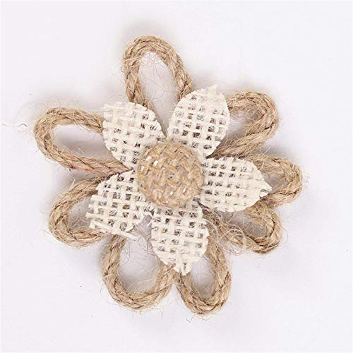 Artificial Flowers Handmade Vintage Burlap Flowers Heads Jute Hessian Bowknot Rose Flowers Rustic Wedding Party Decoration Christmas Ornament S 09 TINGG (Color : 4, Size : Small)