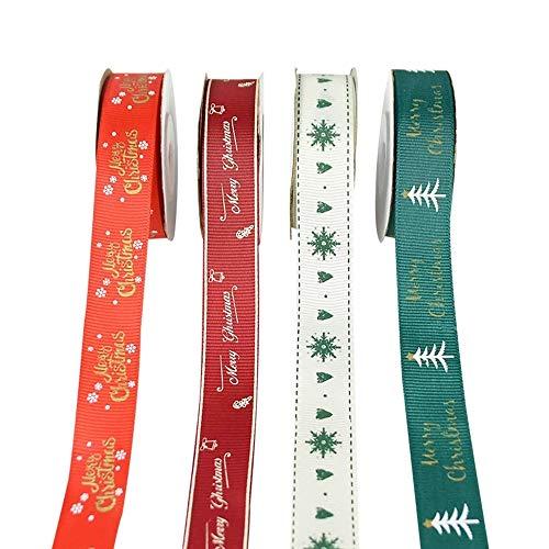 Jsdoin Juego de cintas navideñas de grogrén para envolver regalos, lazos para el pelo, manualidades, decoración de bodas (4 piezas/2 cm)