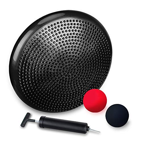 JBM Inflated Stability Wobble Cushion & 2pcs Lacrosse Massage Balls - 13' Balance Stability Disc with Pump - Support up to 770lb, Firm Balls for Myofascial Release and Yoga Therapy (Red & Black)