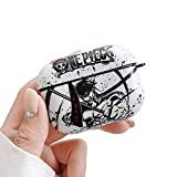 BONICI Protective Case for AirPods Pro/3, Creative Anime ONE Piece Theme Chinese Landscape Painting Style White Black Soft Silicone TPU Rubber Cover Earbud Earphone Wireless Charging Case -Pattern 9