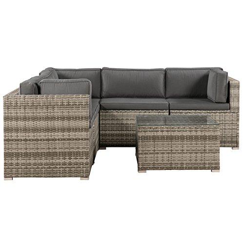 ArtLife Polyrattan Lounge Sitzgruppe Nassau beige-grau mit Bezügen in Dunkelgrau - 3