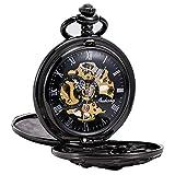 Treeweto - Reloj de bolsillo antiguo de esqueleto mecánico y figura de dragón con cadena...