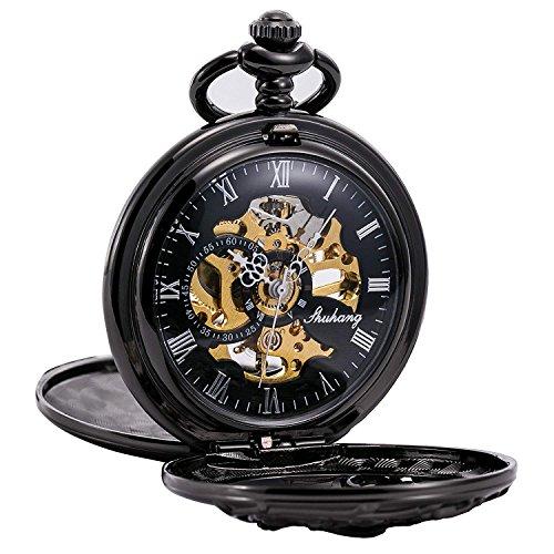 Treeweto - orologio da taschino meccanico antico con drago portafortuna, cassa cava, doppio quadrante con scheletro a vista, con catena e confezione regalo