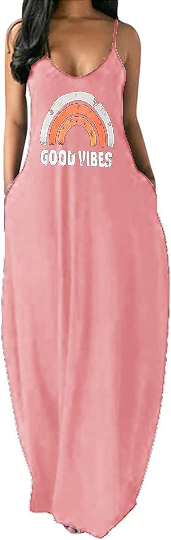 SENSERISE Womens Good Vibes Dress New York Mall Summer Spaghett Casual Sale SALE% OFF Rainbow