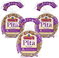 Toufayan Bakery, Multi Grain Pita Bread for Sandwiches, Meats, Salads, Cheeses and Snacks, Naturally Vegan, Cholesterol Free and Kosher (12oz Bags, 3 Pack)