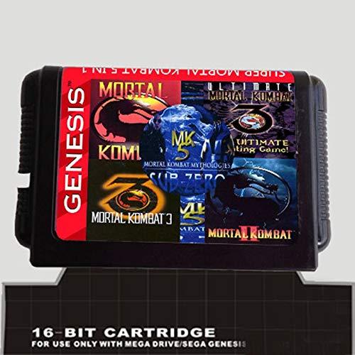 5 In 1 Game Cartridge With Mortal Kombat 1 2 3 4 5 For 16 Bit Sega Megadrive Genesis Game Player JAP Shell