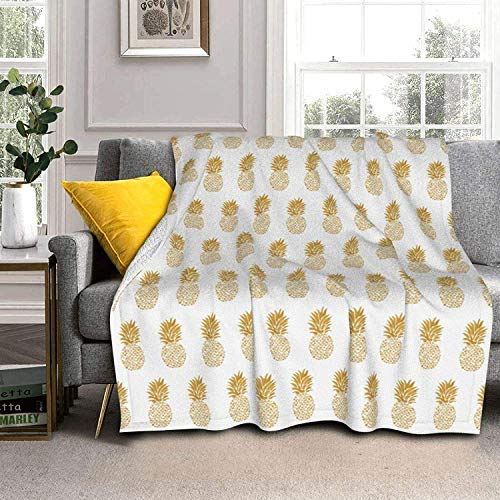 Gold Pineapple Lamb Wool Throw Blankets Silver Fox Fur Blanket Ultra-Soft Throw Blanket for Sofa Bed Men Women & Baby