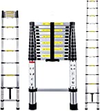ROXTAK Mult-Purpose Telescopic Folding Ladder 2.6m/2.9m/3.2m/3.8m Aluminium Extension Ladder A-Frame/Straight Ladder, EN131 (3.8M)