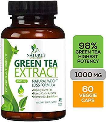 Green Tea Extract 98% with EGCG for Weight Loss 1000mg - Boost Metabolism for Healthy Heart - Antioxidants & Polyphenols for Immune System - Gentle Caffeine - Natural Fat Burner Pills