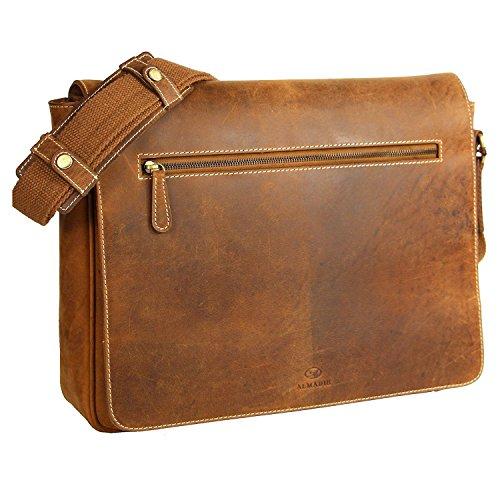 ALMADIH XL Leder Messenger aus Rindsleder braun Vintage M28 - Aktentasche mit vielen...