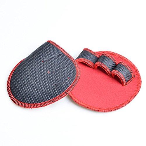 Abaodam 1 par de guantes de entrenamiento unisex para levantamiento de pesas, para mujeres, hombres, fitness, deportes, gimnasia, agarre de mano, protector de palma (rojo)
