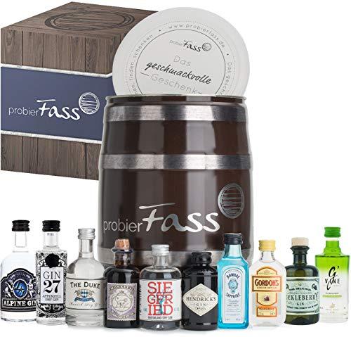 probierFass Gin Set | 10 originale Gin Miniaturen (7 x 0.05 l und 3 x 0.04 l) verpackt in einem originellen Fass mit Geschenkverpackung | Gin Geschenk | Gin Probierset | Gin Geschenkset