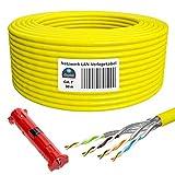 HB-DIGITAL 50m cavo di rete LAN cavo di installazione Cabel cat. 7 rame professionale + spogliarellista (grande) S/FTP PIMF LSZH giallo senza alogeni RoHS-Compliant cat. 7 AWG 23/1