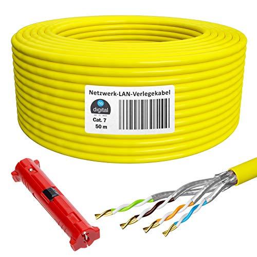 HB-Digital 50m Netzwerkkabel Cat 7 LAN Verlegekabel Ethernet Installationskabel Kupfer Profi + Abisolierer (groß) S/FTP PIMF LSZH Halogenfrei Gelb RoHS-Compliant Cat. 7 AWG 23/1