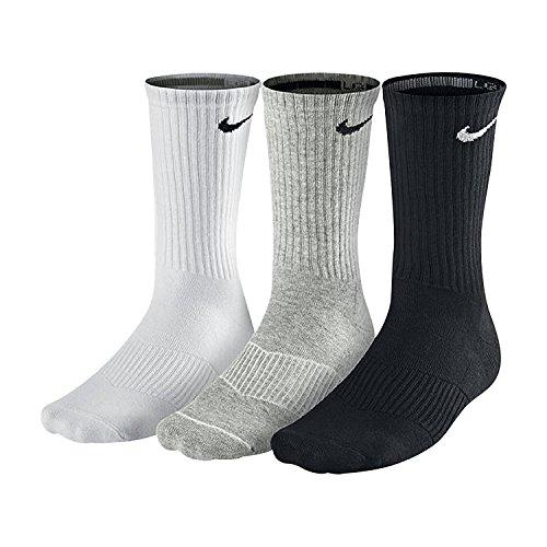Nike Herren Socken Cushion Quarter 3er Pack, mehrfarbig (grey heather/black/white), Gr. S