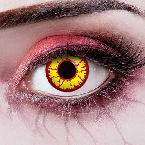 aricona Kontaktlinsen Farblinsen - rot-gelbe Kontaktlinsen – deckende Kontaktlinsen ohne Stärke für Halloween und Kostüm-Partys
