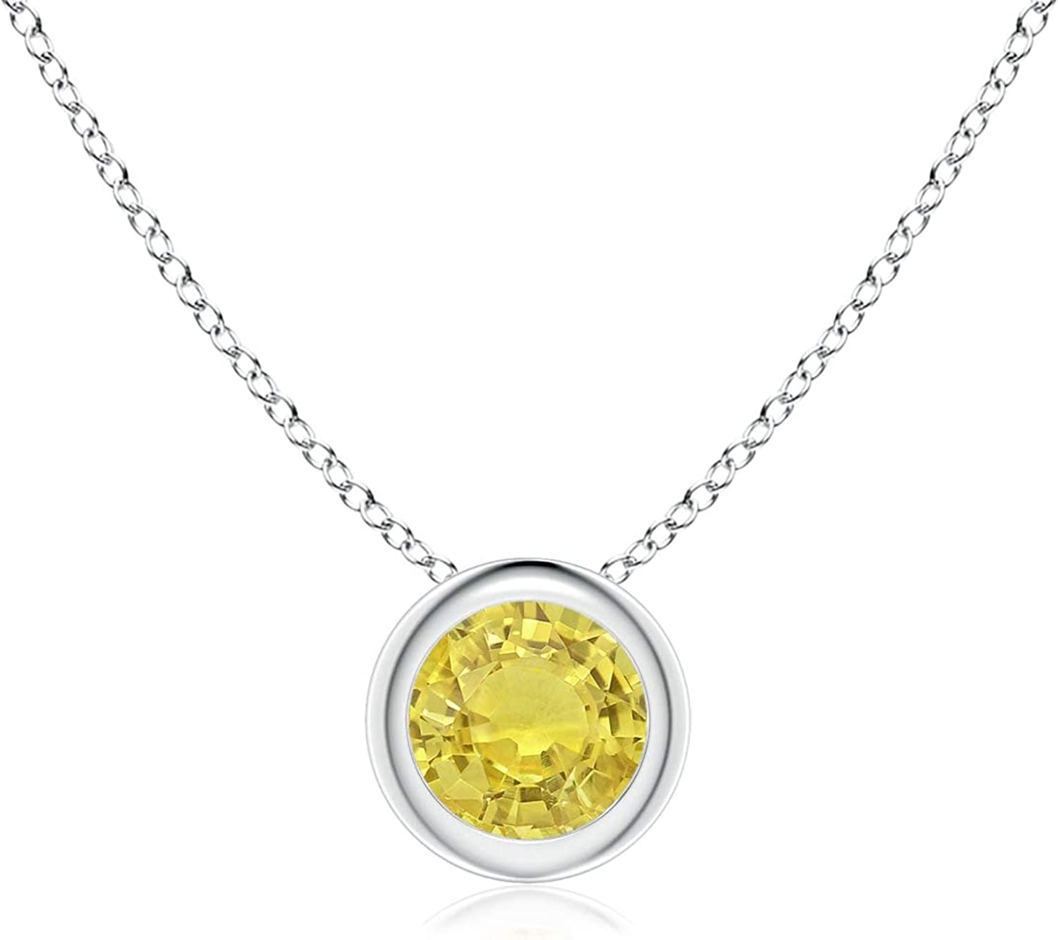 Shipping included Bezel-Set Round cheap Yellow Sapphire 4mm Solitaire Pendant Sa