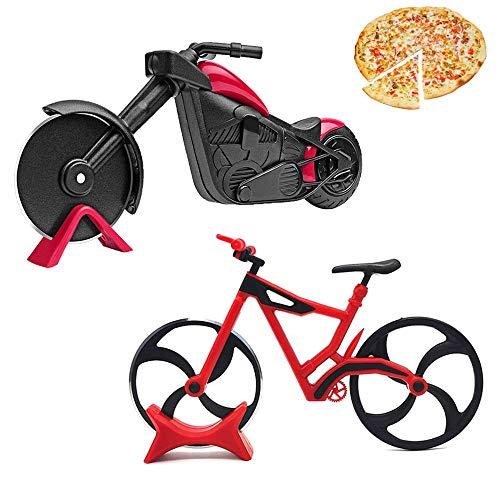 2 Stücke Pizzaroller aus Rostfreiem Stahl, Pizzaschneider Fahrrad, Motorrad Pizza Cutter, Edelstahl Pizza Roller, für Familienfeiern, Partys, Picknicks Geschenke, Exquisite Küche Geschenk