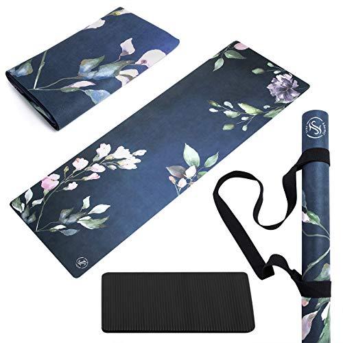 June & Juniper Travel Yoga Mat Foldable Lightweight - Thin Light Non-Slip Travel...