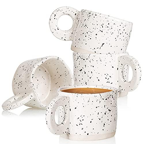 Coffee Mug,Ceramic Coffee Mugs CREATIVELAND 10 oz Stoneware Handmade Coffee Cups with Handle for Latte, Espresso,Cappuccino,Hot chocolate,Milk Mugs Set Dishwasher Microwave Safe (White)
