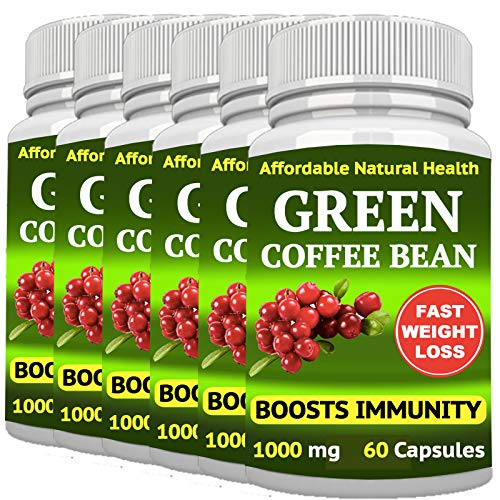 6 Green Coffee Bean - Weight Loss Supplement - Appetite SUPPRESSANT - 360 Capsules 6 Month Supply - 1000 mg - Organic - GMO and Gluten Free - 100% Pure - Fast Weight Loss