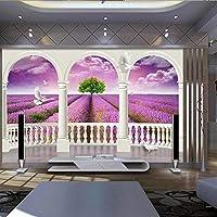 卸売風景風景紫ラベンダー3d壁写真リビングルームと寝具室の壁画3d壁壁画フレスコ画家の装飾* 400cmx280cm3D不織布プレミアムアートプリントフリース壁壁画装飾