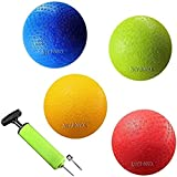 New Bounce Dodge-Ball Set - 8.5 Inch Heavy Duty Dodgeball Balls - Set of 4, PG 8.5 Balls, 1 Pump, and 2 pins, Official Size for Dodgeball and Handball - Perfect for Camps and Schools…