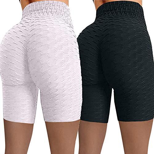 2 Pieces Pantalones Cortos Deporte Mujer Cintura Alta Shorts Leggins Pantalones Cortos de Yoga para Correr Gym Deportivos