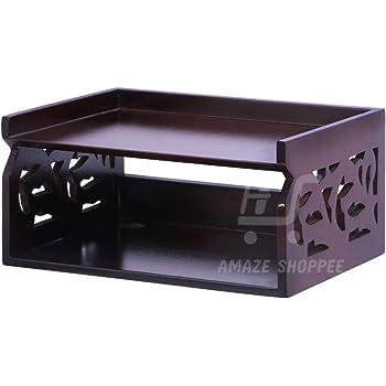 Amaze Shoppee Wood Set Top Box Wall Shelf, Glossy Finish (Brown)