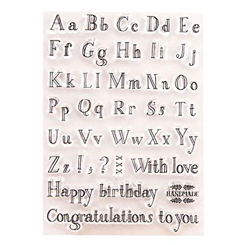 Healifty Sellos de silicona transparentes con letras del alfabeto para manualidades, álbumes...