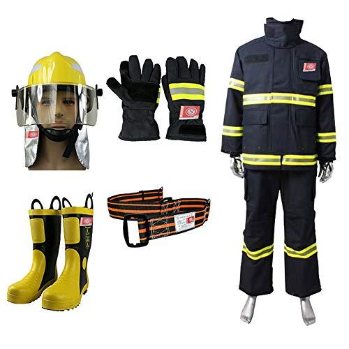 XIONGGG Feuerfester Anzug, 5 in 1Reflektierender, Gut Sichtbarer Feuerwehrschutzschutzanzug Orange Split-Schutzkleidung