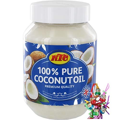 yoaxia ® Marke Set - [ 500ml ] KTC 100% Reines Kokosöl / Cocosöl / Kokosnussöl / Pure Coconut Oil + ein kleines Glückspüppchen - Holzpüppchen