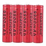 4 pcs 18650 Batería Recargable de Iones de Litio de 3,7 V 9900 mAh Baterías de botón de Gran Capacidad para Linterna LED, iluminación de Emergencia, Dispositivos electrónico,18x65mm