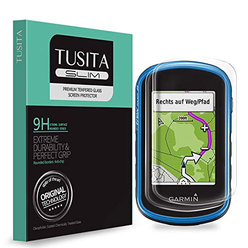 TUSITA [2-Pezzi] Vetro Temperato per Garmin eTrex Touch 25 35 35t - Pellicola protettiva con durezza 9H anti impronte e anti bolle - Navigatore GPS Salvaschermo