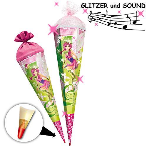 alles-meine.de GmbH mit _ 3D Glitzer + Geräusch & Sound Effekt ! - Schultüte - Elfe - Fee / Traumelfe - 85 cm - mit Holzspitze - 6 eckig - Tüllabschluß - Zuckertüte - Roth - Mädc..